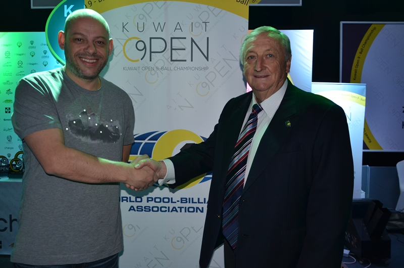 Appleton with WPA President Ian Anderson at the Kuwait Open in November, 2106. The Brit's new World Pool Series will be fully sanctioned by the WPA and will offer worldwide ranking points to players around the globe.