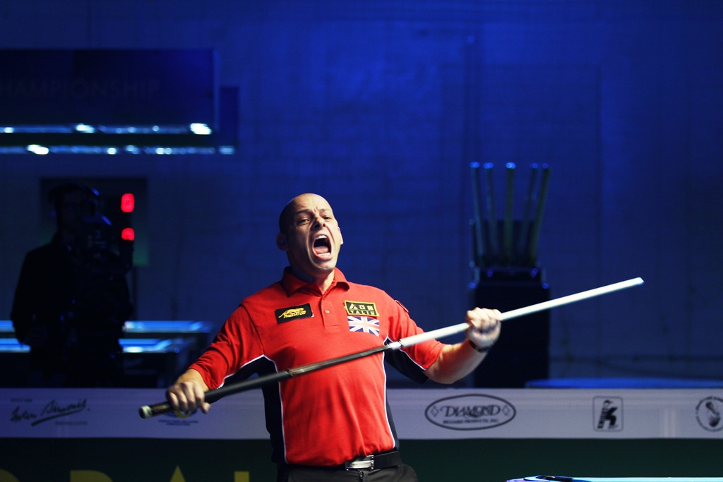 Appleton erupts with joy after capturing his first WPA World 9-ball Crown in Doha, Qatar in 2012.